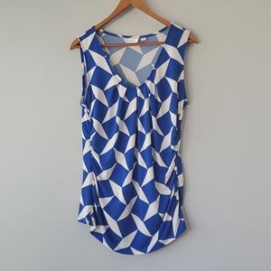 New York & Company Blue White Sleeveless Top